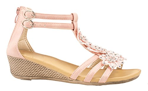 Elara Damen Sandaletten | Bequeme Keilsandalette | Cut-Outs DEKO Blümchen Pink 39 (Lässige Sandale Robuste)
