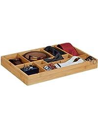 Relaxdays Organiseur de tiroir ajustable HxlxP: 5 x 45 x 32 cm cuisine salle de bain placard bambou bois, nature