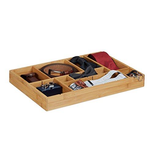 Relaxdays-Organizador Ajustable para cajones, Madera de bambú Natural, 5x 45x 32cm, para Cocina, Cuarto de baño o Armario