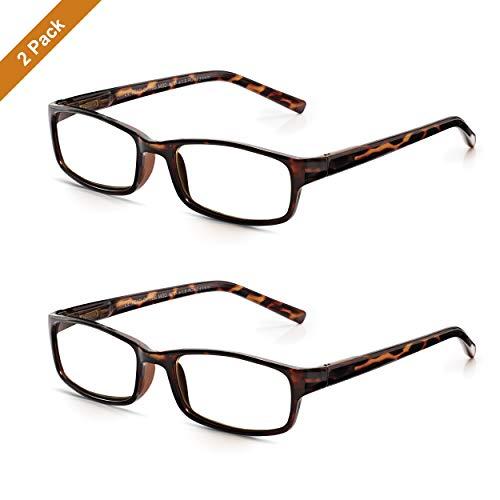 Read Optics 2er Pack moderne leichte Lesebrillen für Damen/Herren in Braun mit Schildpatt-Muster. Set rezeptfreier Brillen aus Polykarbonat mit rechteckigen Qualitäts-Gläsern in Stärke +1,5 Dioptrien