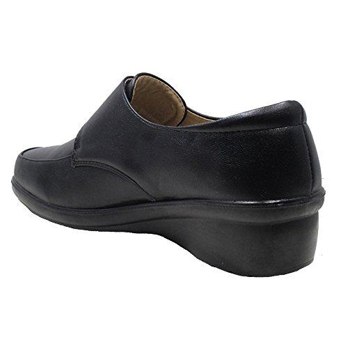 Femme Talon Bas Fermeture Velcro Décontracté Confort pour le travail de bureau école Chaussures Tailles UK Marron