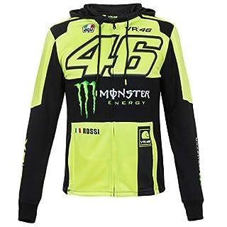 Valentino Rossi VR46 Herren Jacke Zip-Hoodie Kapuzenjacke Pullover Fanartikel Helm Helmet Gelb + Fanergy Energy Drink (L)