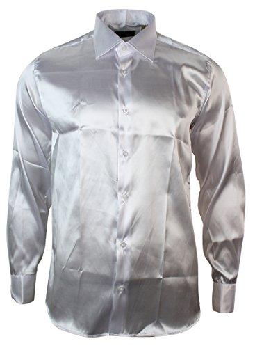 Italienisches Herren Hemd in Weiss Seide Slim Fit Design (Aus Hemden Seide Italienische)