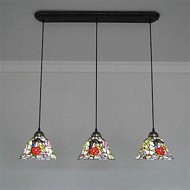 Histone 8 Zoll 3 leichten Vintage Tiffany-Glas Schattierungen Wohnzimmer Esszimmer Kronleuchter Lampe , 110-120v (Tiffany Schattierungen)