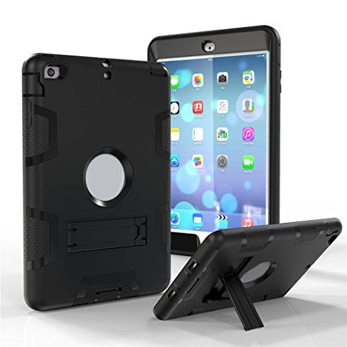 Outdoor Robuste Stoßfest Hülle mit Ständer für Apple iPad Mini 1/ 2/ 3 - Aohro 3in1 PC Plastik + Silikon Shockproof Schutzhülle Case Cover Bumper Etui,Schwarz + Schwarz (Ipad Fall Mini 1)