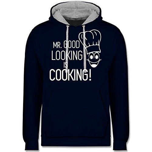 Küche - Mr. Good Looking is cooking - Kontrast Hoodie Dunkelblau/Grau meliert