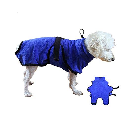 Hunde-Bademantel Hundebademantel Mikrofaser Hundemantel Doggy Dry hund Trockenmantel mit verstellbaren Trägern, Blau (M) (Baumwolle Kleine Bademantel)