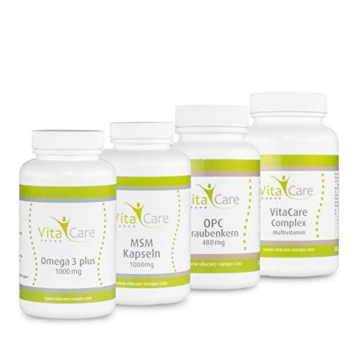 VitaCare 21-Tage-Stoffwechselkur - HCG-Diät Komplettpaket mit Anleitung - MSM Kapseln, Multivitamin Complex, Omega 3 plus & OPC Traubenkern