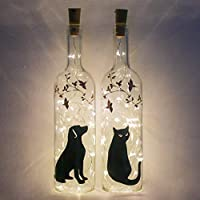 Personalised Pet Sympathy Gift, Cat or Dog Memorial Lights, Sorry For Your Loss Bottle Light by Florabundins