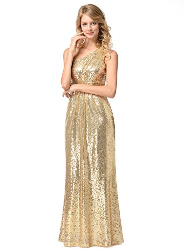 Frauen lange Pailletten Kleid Brautjungfer Hochzeit Fischschwanz Kleid Metallic Gold XL (Zusammen Pailletten-kleid)
