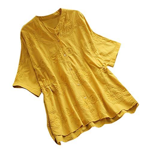 Zegeey Damen T-Shirt Bluse Vintage Rundhals Baumwolle Und Leinen Sommer LäSsige Knopfleiste Solide Tunika Pullover Oberteil Tops Shirts(D7-Gelb,EU-50/CN-5XL) -
