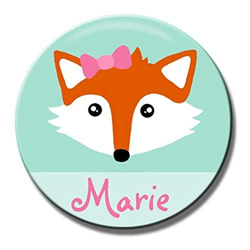 Polarkind Button Namenschild Anstecker Anstecknadel Fuchs mit Wunschname und Wunschgröße handmade 38mm 59mm Kindergeburtstag - Süßes Fuchs Mädchen Kostüm