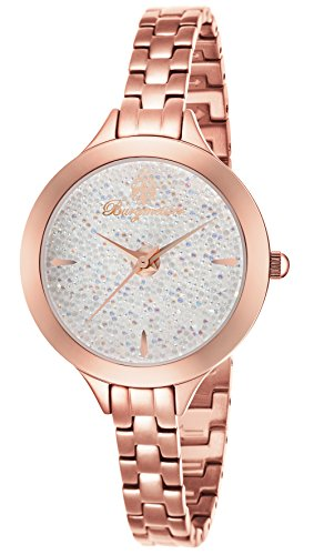 Burgmeister Women's Quartz Watch with White Dial Analogue Display and Rose Gold Stainless Steel Bracelet BM536-388