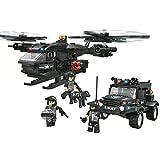 Woma Police SWAT Team Scout elicottero e fuoristrada auto militare modelli di costruzioni Lego compatibile Bricks Toys con contenitore 594PCS