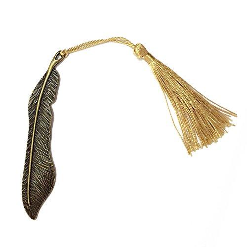 makhry 10pcs retro vintage clásica delicadeza pluma forma cuentas marcapáginas de metal decorado con textura hecha a mano borla, color bronce vintage