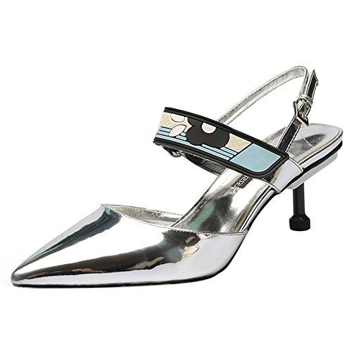 Damen Pumps Kitten-Heel Spitze Zehen Glitzer Leder Knöchelriemchen Silber