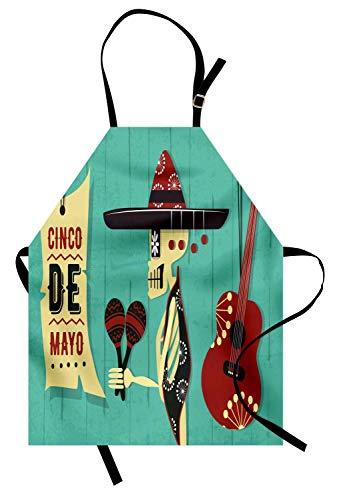 Cinco de Mayo Schürze, Cartoon-Skelett mit Sombrero Maracas-Gitarre, Unisex-Küchenschürze mit verstellbarem Hals zum Kochen Backen im Gartenbau, dunkle Seafoam Paprika-Creme Charcoal Grey