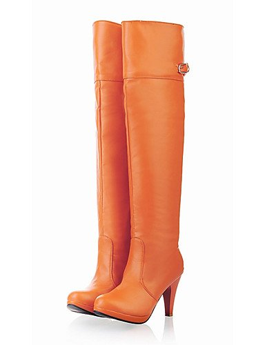 CU@EY Da donna-Stivaletti-Casual / Serata e festa-Stivali-A stiletto-Finta pelle-Nero / Marrone / Arancione orange-us6.5-7 / eu37 / uk4.5-5 / cn37