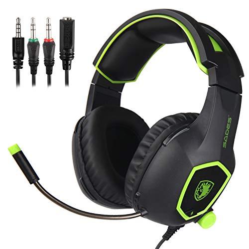 Sades SA818 Bequeme LED 3,5 mm Stereo Gaming Over-Ear Kopfhörer Headset Stirnband mit Mic für PS4 Neue Xbox One PC Computer Spiel mit Noise Cancelling & Lautstärkeregler