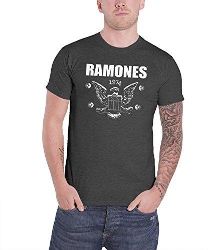 Ramones Distressed 1974 American Eagle seal oficial hombre nuevo Gris T Shirt