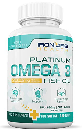 Omega 3 Olio di Pesce | 2000mg, 660 EPA 440 DHA per dose | 180 Capsule  Softgel Premium Non-GMO, Prive di Glutine | Realizzate in UK da Iron Ore  Health