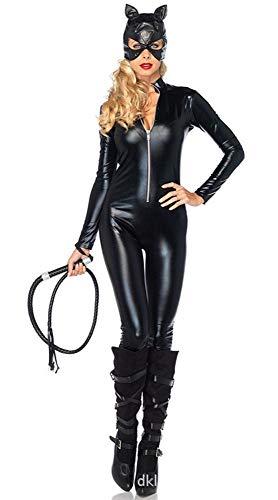 Olydmsky karnevalskostüme Damen Halloween-Kostüm Frau schwarz Leder Katze Mädchen Halloween Wild Strampler Cosplay (Mädchen Katze Frau Kostüm)