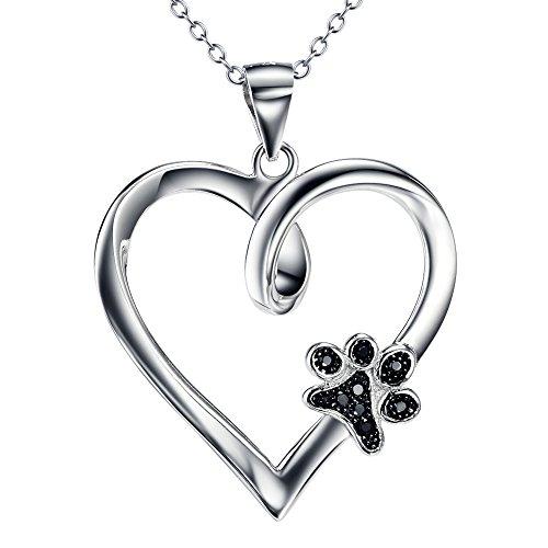 YFN-Damen-Sterling-Silber-und-Zirkonia-Forever-Love-Herz-Puppy-Pfote-Anhnger-Kette-Halskette-457-cm