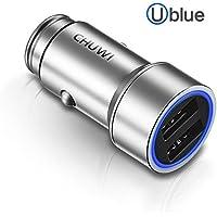 Caricabatteria da auto CHUWI úBLU 17W 3.4A Dual USB, con integrato Corpo in metallo, Smart Charge, Multi-proteggere il sistema di sicurezza e LED blu per iPhone 6 / 6S / 6 Plus, iPad Air 2, Samsung Galaxy S7 / S6 bordo, nota 5 e Altro ...