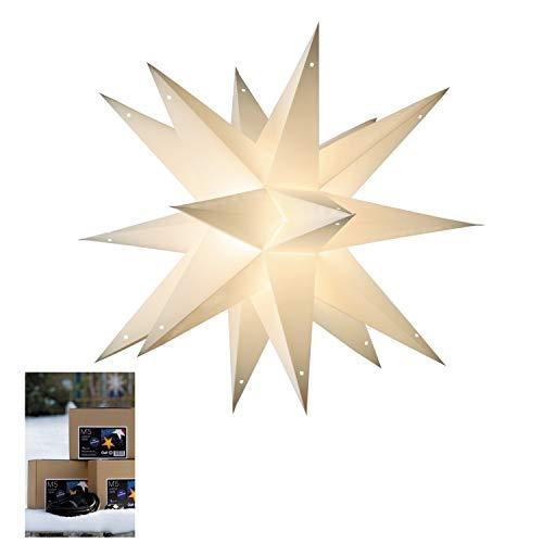 Weihnachtsstern AUßEN | Weihnachtsdeko 3D Adventsstern Ø 55 cm | inkl. wetterfester Verstromung 5m | Leuchtdeko Weihnachtsbeleuchtung Taara white für Draußen