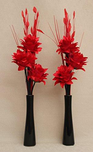 Künstliche Seide (Set von 2) Red Dragon Blumen & Rot Gräser in schwarz Flasche Form Keramik Vasen (3 Stück Black Dragon)
