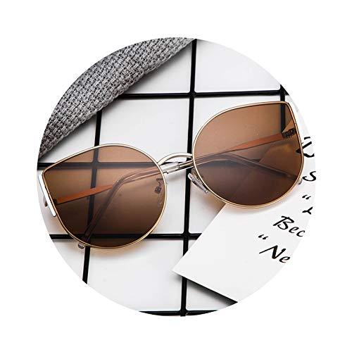 Epinki Damen Polarisiert Sonnenbrille Katzenauge Mode Brille UV400 Schutz | Vollrand | für Autofahren, Wandern, Festival - Gold Braun