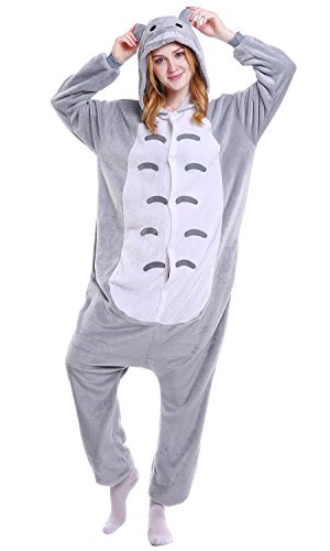 Kostüm Kigurumi Totoro - Dolamen Erwachsene Unisex Jumpsuits, Kostüm Tier Onesie Nachthemd Schlafanzug Kapuzenpullover Nachtwäsche Cosplay Kigurum Fastnachtskostuem Xmas Halloween (X-Large (68,8