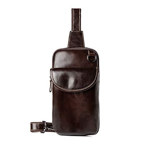NY-close Herren Umhängetasche, Leichte Leder Herren Casual Umhängetasche Schultertasche Leder Rucksack Vintage Tasche, Multifunktionale wasserdichte Outdoor-Reisesportarten (Color : Brown)