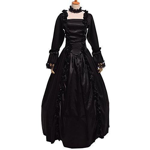 BLESSUME gótico Victoriano Tailcoat Steampunk VTG Escudo Chaqueta Víspera de Todos los Santos Cosplay Disfraz (2XL, Negro)