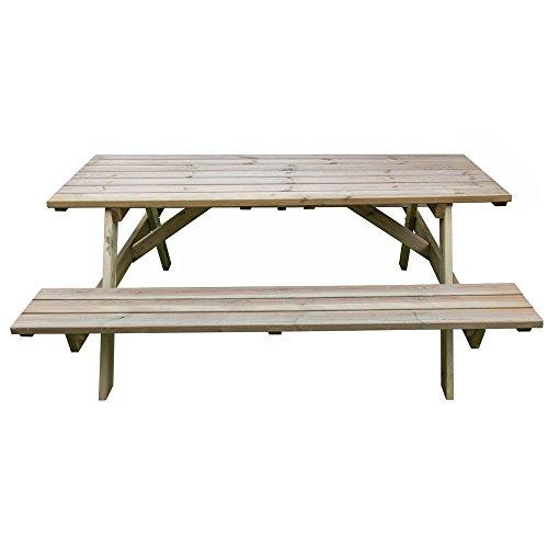 Tavolo picnic 180x120xH70 legno robusto + panche seduta arredo giardino BD-46068 - 3