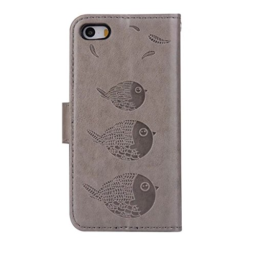 EKINHUI Case Cover Embossing Bird Pattern PU Ledertasche mit abnehmbarem Back Cover, Flip Stand Wllet Tasche mit Lanyard & Card Slots für iPhone 5s & SE ( Color : Brown ) Gray