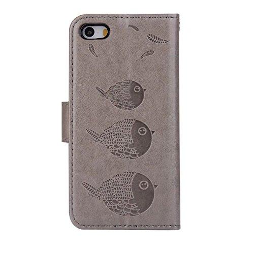 EKINHUI Case Cover Embossing Bird Pattern PU Ledertasche mit abnehmbarem Back Cover, Flip Stand Wllet Tasche mit Lanyard & Card Slots für iPhone 5s & SE ( Color : Brown ) Gray