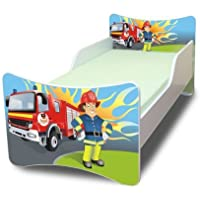 BEST FOR KIDS KINDERBETT mit Schaummatratze mit TÜV ZERTIFIZIERT 90x200 30 DESIGNS (Feuerwehr)