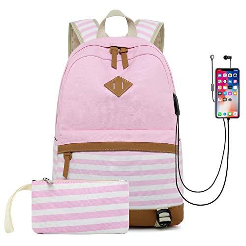 Cassiecy Mädchen Schulrucksack Canvas Stripe Teenager Daypacks Laptop Rucksack für Schule und Freizeit 2-In-1 Kinder Schulrucksack mit USB Lade Port (Pink)