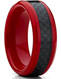 Ultimate Metals Co. 8MM Red Tungsten Ring Men's Wedding Band with Black Carbon Fiber Inlay, Comfort Fit