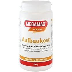 MEGAMAX Aufbaukost Vanille. Ideal zur Kräftigung und bei Untergewicht. Pulver zur Zubereitung eines fettarmen Kohlenhydrat-Eiweiß-Getränkes. Produktion in Deutschland. 500g