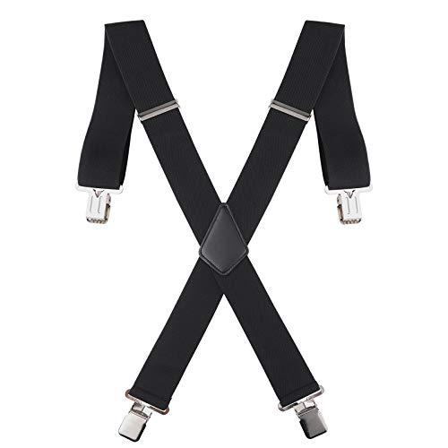 50MM Breit Herren Hose Hosenträger - X Form Einstellbar Elastisch Schwer Pflicht mit Stark Metall Clips (Schwarz)