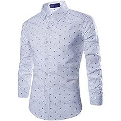 Camisas Formal Manga Larga Diseño De Pequeña Ancla Perfecto Para La Oficina, Ocio Y Otras Ocasiones Blanco S