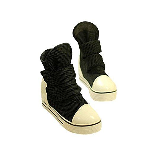 jeansian Moda Donna Casuale Tela Piattaforma Incunearsi Scarpe da Ginnastica Wedge Sneakers WSB051 Black 38
