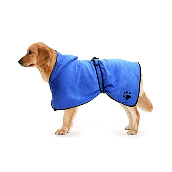 Zellar-Dog-Bathrobe-Towel-with-Adjustable-Strap-Hood-Microfibre-Fast-Drying-Super-Absorbent-Pet-Dog-Cat-Bath-Robe-Towel-for-Drying-Coats