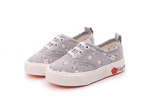 ALUK- Chaussures pour enfants - Ensembles de fleurs florales et chaussures décontractées d'automne ( Couleur : Gris , taille : 19 ) Gris
