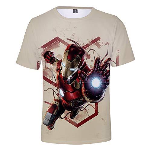 WQWQ Sommer Herren und Damen Kurzarm Rundhals Digital Print Fitness T-Shirt Shirt Iron Man Avengers Kurzarm Schnelltrocknender Schweiß Kurzarm,C,XS