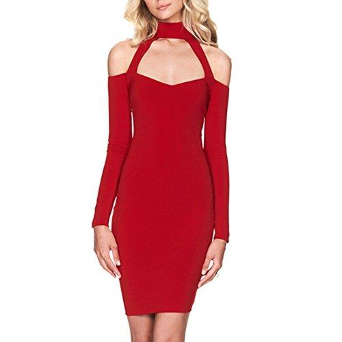 QIYUN.Z Les Femmes Sexy Col Haut Epaule Froide Manches Longues Robe De Cocktail Tortiller Rouge