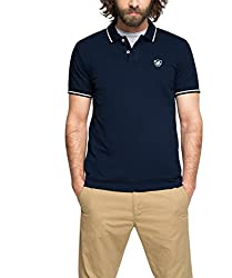 ESPRIT Herren 046EE2K032-Piqué-Regular Fit Poloshirt, Blau (Navy 400), Medium