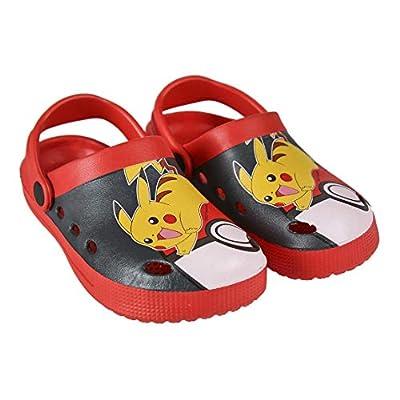 Takestop® - Chanclas Crocs Zapatillas de Playa de Goma Antideslizante Pokémon Pikachu Amarillo Rojo niño niña Dibujos Animados Piscina Playa niño Unisex